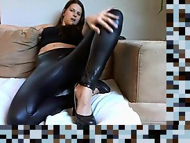 amateur latex leggings